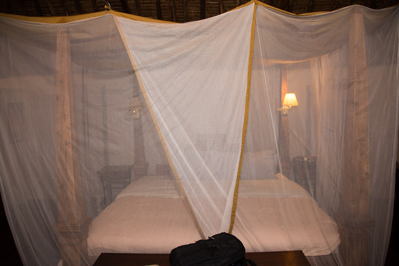 When we got back to our sleeping cottage, the staff had already drawn the netting for the night.