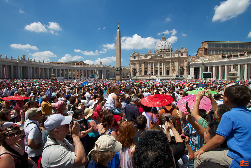 The huge crowds in St. Peter's Square awaiting the blessing from Pope Francis.<br /> IMG_2796