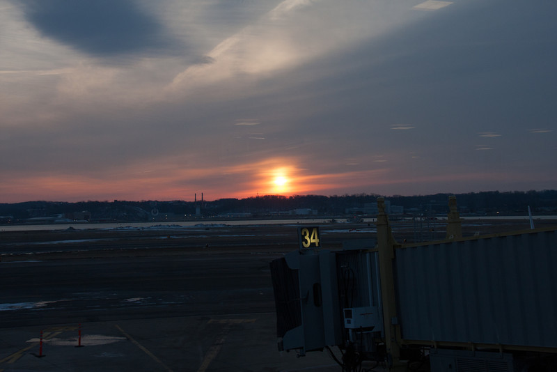 The adventure begins.  Sunrise over the National airport tarmac.  Day 1.