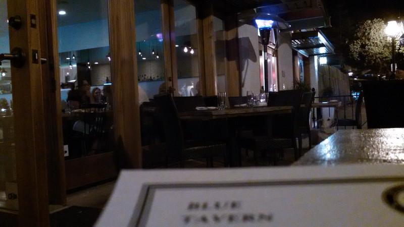 On the sidewalk dining at the Blue Tavern, State St Santa Barbara