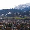 Garmisch-Partenkirchen. Olympic ski jumps in the back.