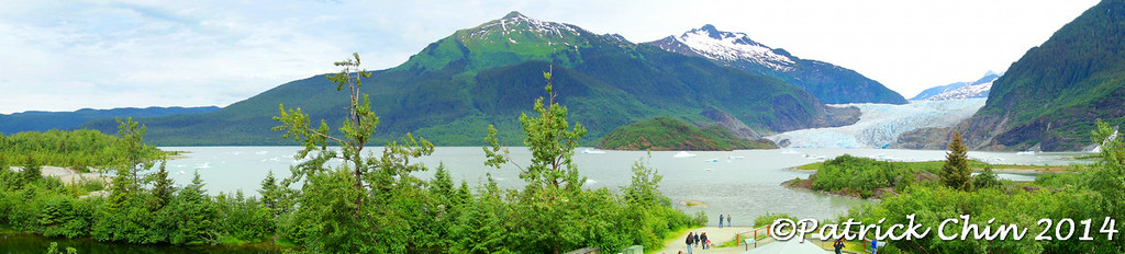 Panorama shot at Juneau Mendenhall glacier.