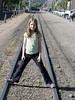 Lauren on narrow gauge tracks in Durango