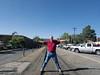 Standing on the narrow gauge tracks in Durango