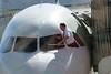 Pilot washing his windshield in Salt Lake City
