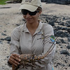 Solange Cobos, our other guide,  holding a Galápagos lobster