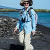 Lynn on the lava at Isabela Island