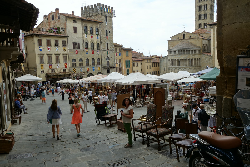The grand square of Arezzo right outside our apartment. There was a huge antique show the days we were there.