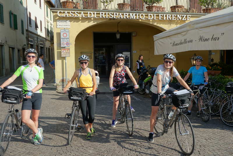 On the final day we had a short ride down into Greve and back up the hill.  Here are the girls in Greve ready to head back up and say goodbye.