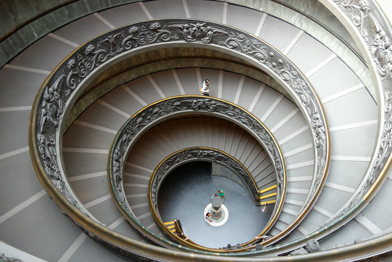 The spiral stairs in the Vatican museum