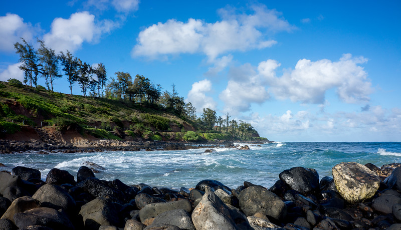 Looking north from Kapa'a Beach.