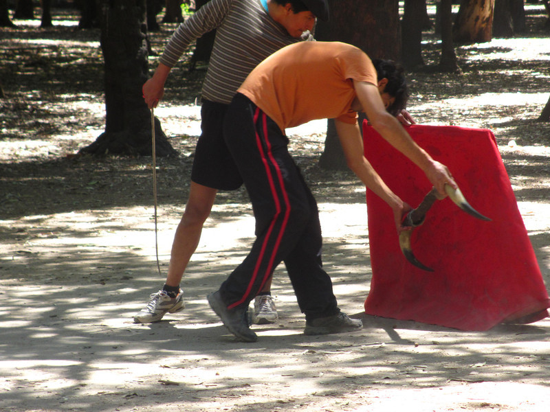 Practicing bull fighting in Chapultepec Park