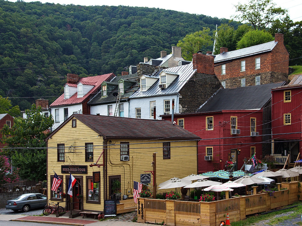 287 Old stone buildings step up the hillside. Harpers Ferry has an abundance of stone, and hills, as seen in the prior photo. The steeple you see in the upper part of the photo...