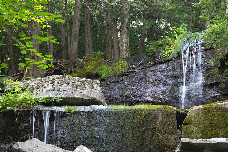502 Ashley Falls in Mary's Glen at North/South Lake Public Campground by Haines Falls, NY. These are little falls that are much broader in the spring during snow-melt season. The Catskills are very rocky, so rocks are everywhere.