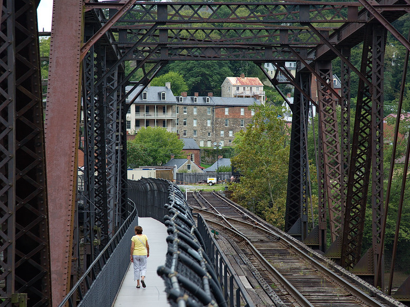 """352 There is a catwalk along the side of this railroad bridge along which Jodi and I walked """"all the way"""" from WV to MD and back! Here Jodi returns to Harpers Ferry and West Virginia."""