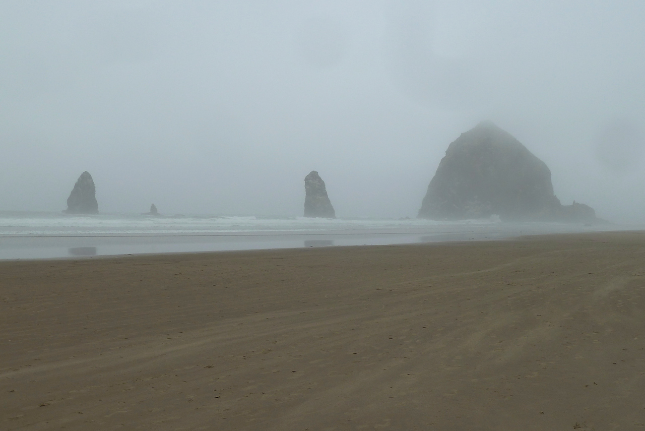 """The famous """"Haystacks"""" at Cannon Beach, Oregon, although for us, mainly in the fog!!"""