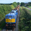 113 passes British Road at Aldergrove Airport with the ballast train. 040814