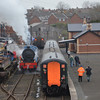 Back at Whitehead, The RPSI Mk2 rake was sitting in the platform whilst 85 ran onto the pit road. 090314