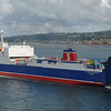 STENA HIBERNEG departs Belfast Harbour with freight for Liverpool. 090614