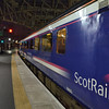 It has been recently annoucned that First will no longer have the contract from 2018 for the Caledonian Sleeper. From then it will be run by Serco. Here the First Scotrail logo stands out on 9803 at Glasgow Central in the formation of the 2340 Sleeper to London Euston. 090614