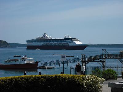 The Veendam anchored off Bar Harbor