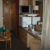 Another view of our cabin showing the refrigerator we requested and the bottle of champagne sent from our travel agent