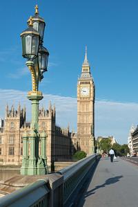 20140831. View from Westminster Bridge of lamp fixture and Big Ben.