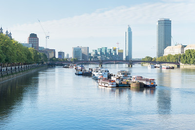 20140831. Southern view of River Thames from Westminster Bridge.