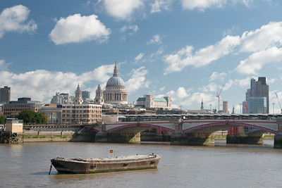 20140831. View of Blackfriars Bridge across River Thames from Southbank, London.  Saint Paul's Cathedral on center left side.