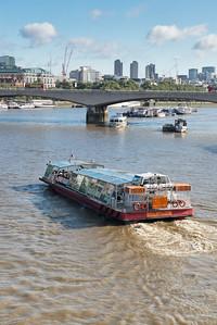 20140831. Waterloo Bridge over River Thames in London.  View from Golden Jubilee Bridge.