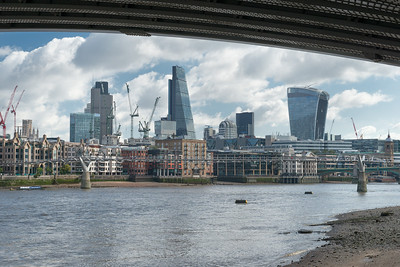 20140831. View across River Thames from under Blackfriars Bridge Southbank, London.  Under construction is 20 Fenchurch Street building on right. Center is the Leadenhall Building (Cheese Grater).