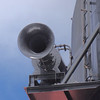 Horn on Queen Mary 2 on starboard side of funnel. This horn is from the first Queen Mary which was launched in 1936.