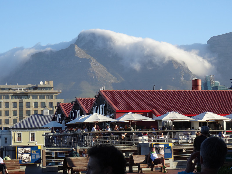 Clouds rolling off Table Mountain in Cape Town