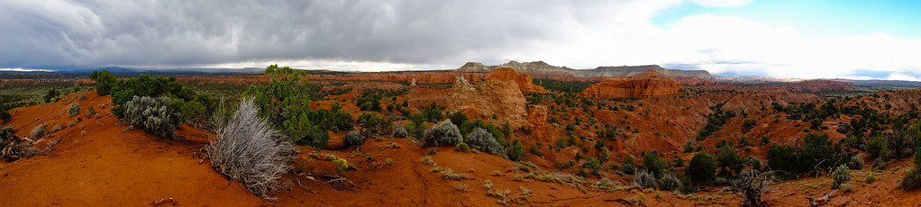 A panoramic picture taken from Panorama Point on a moody, stormy day in Kodachrome Basin SP.