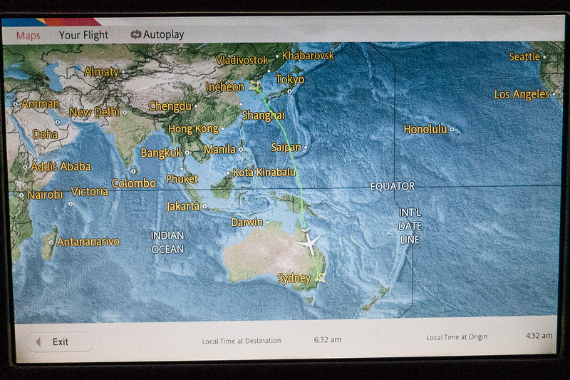 Our route from Seoul to Sydney, per Asiana Airlines.