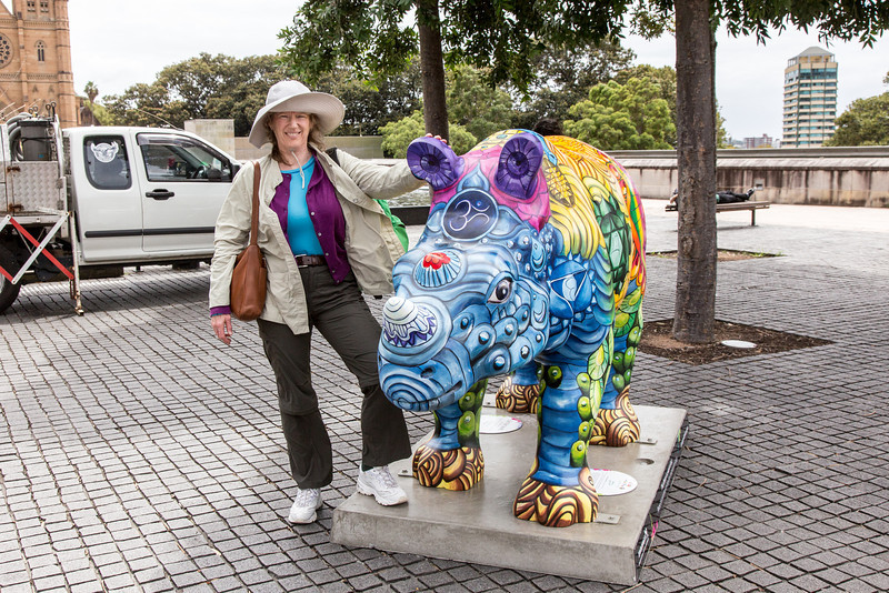 Laurel with one of may rhinoceros statues in Sydney