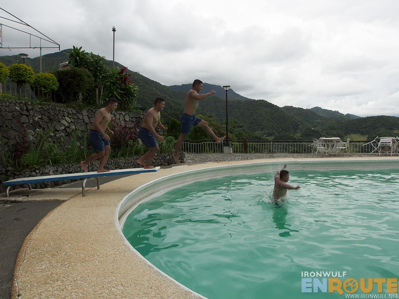 Enjoying jumping into the pool