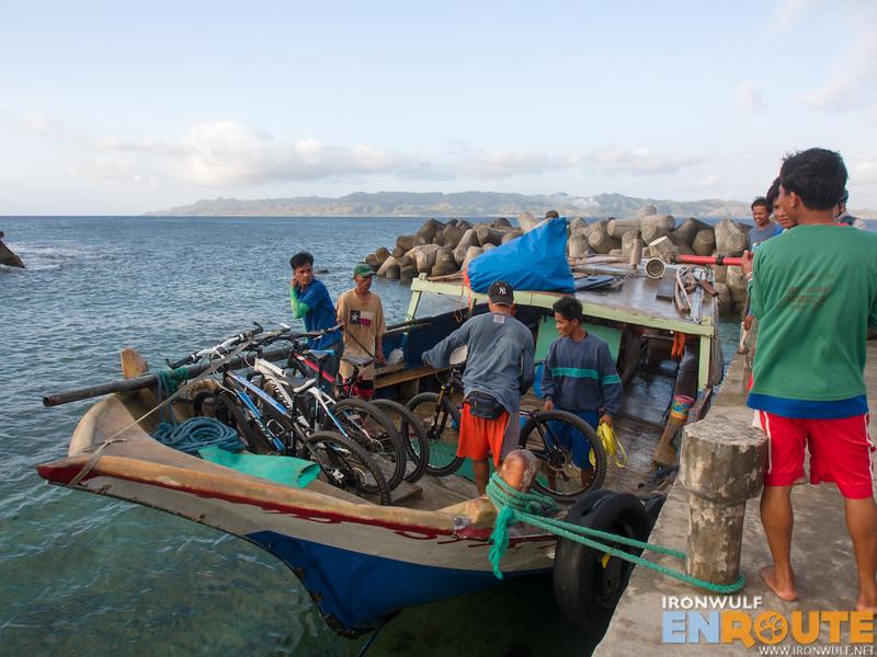 Securing our bikes on a falowa to Sabtan island