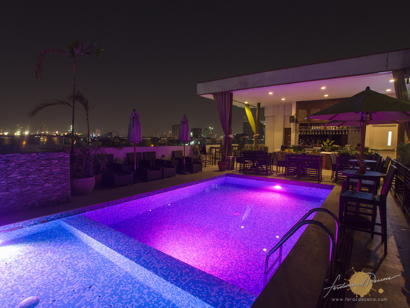The pool at night beside Abuela's Cafe
