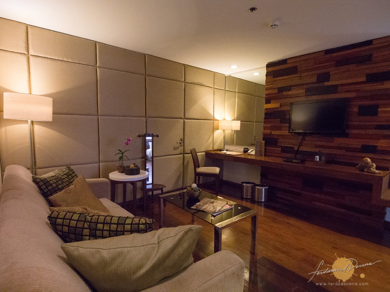The living room area of the One-bedroom suite