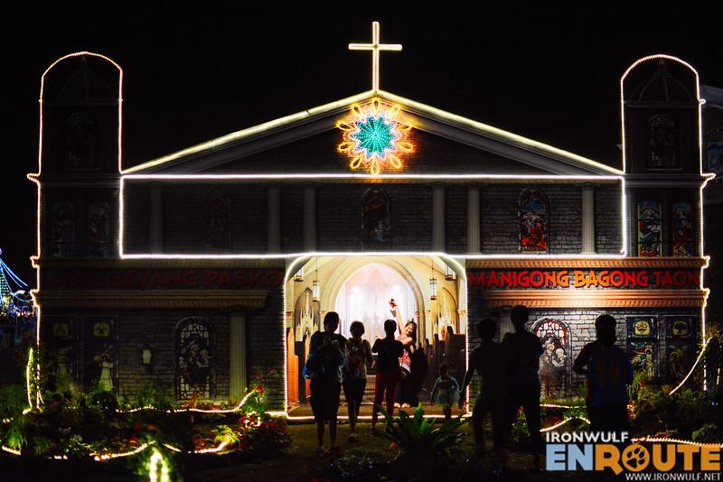 A church facade display for photo ops