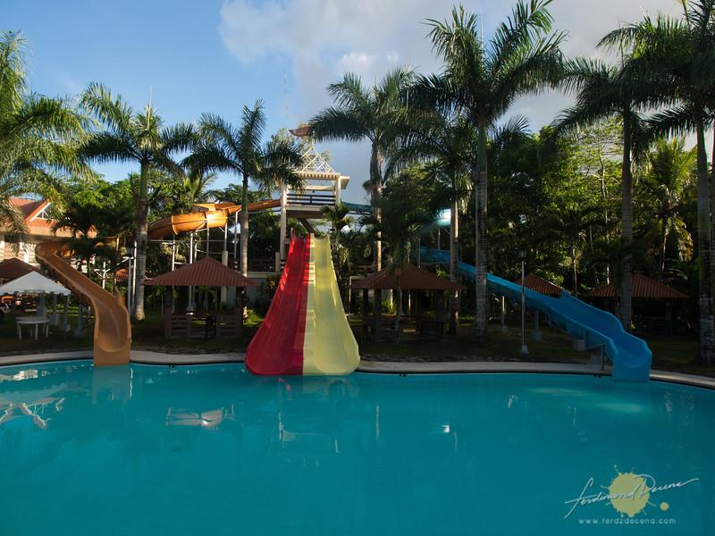 The fun slides at Pineapple Island Resort