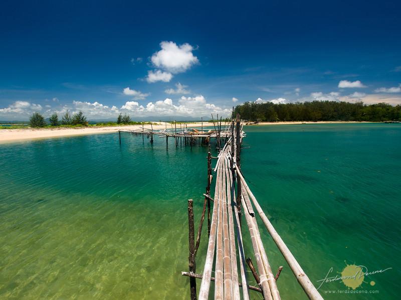 Footbridge to the fish pens