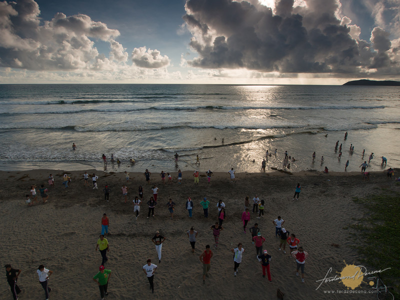 A zumba session during weekends at the beach