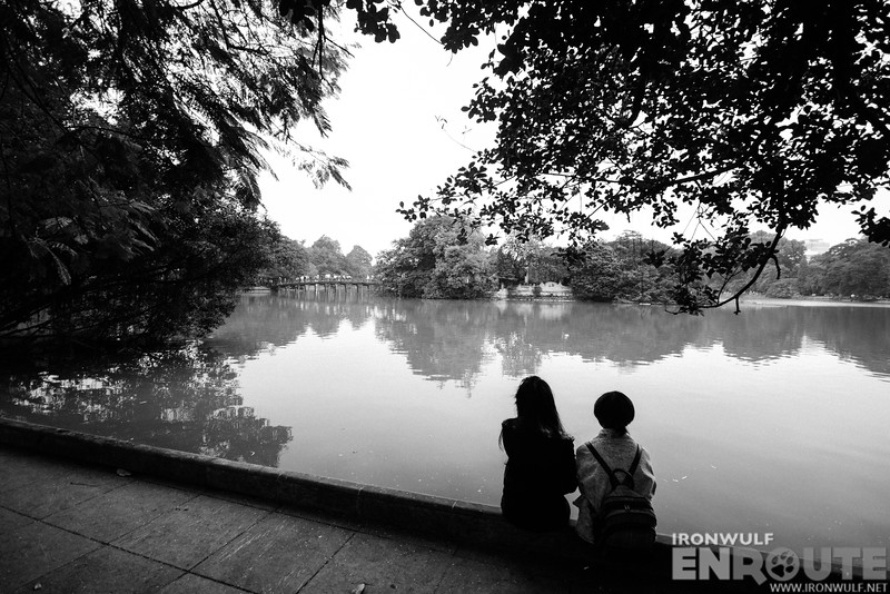 Taking time to sit down at Hoan Kiem Lake