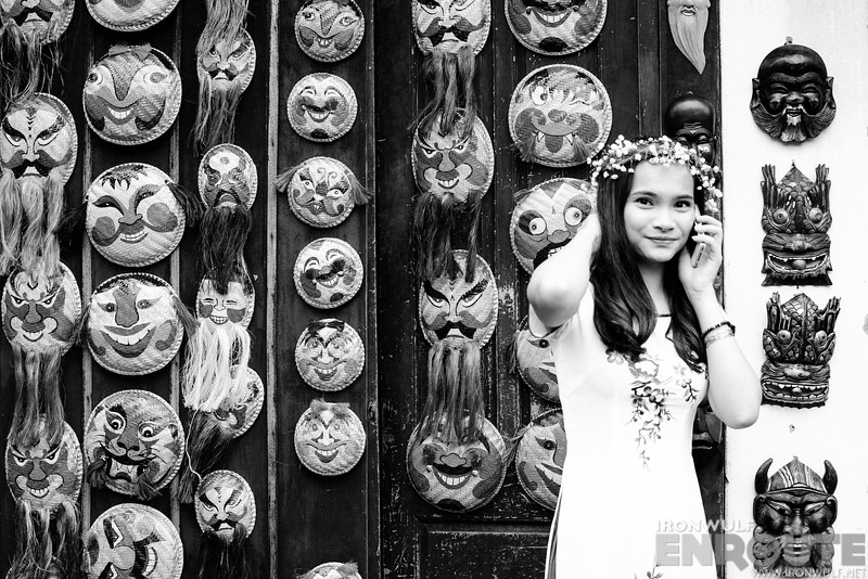 A girl among Hanoi theatre mask