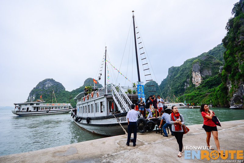 Docking on Driftwood Island for Thien Cung Cave