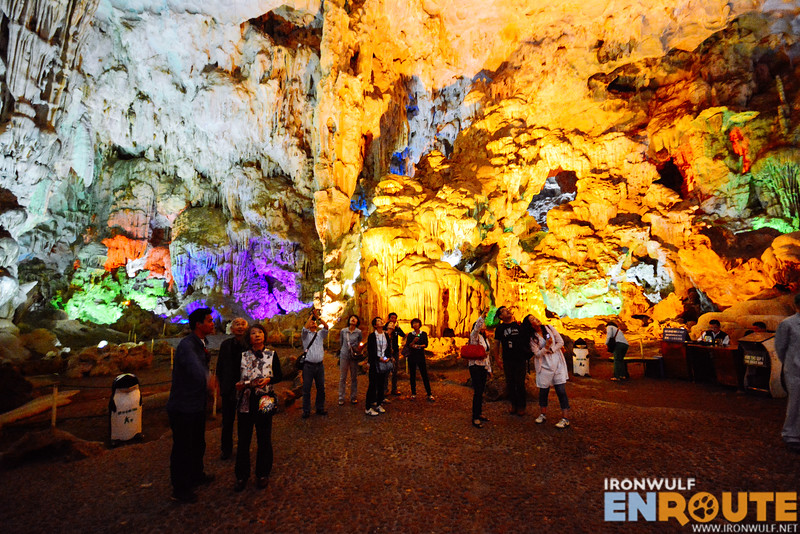 Impressive rock formations at Heavenly Palace Cave despite the multi-colored lights