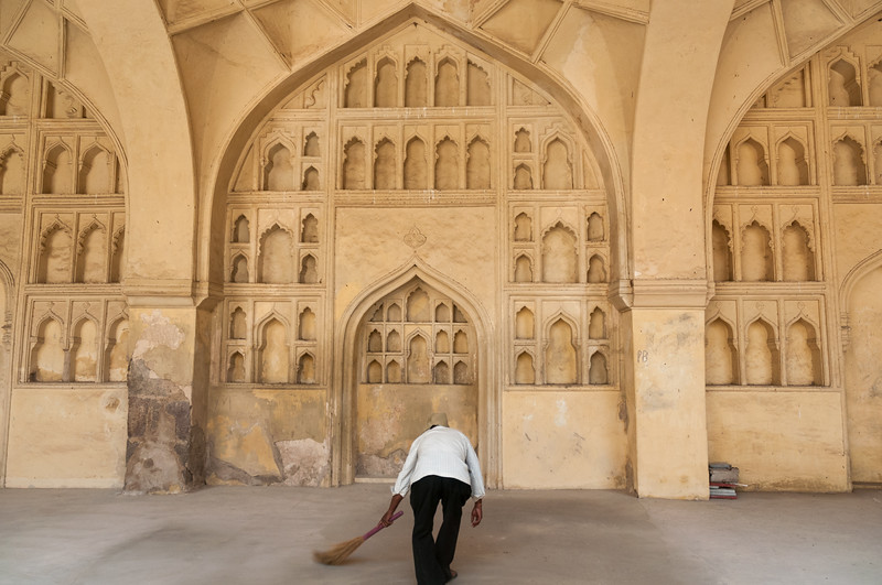 A well-preserved room in Golconda Fort - I believe he said it was the womens' make-up room. Hyderabad.