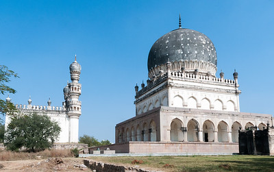 Tombs of Qutb Shahi kings, and the mosque anchoring this suite of 8 tombs in Hyderabad.